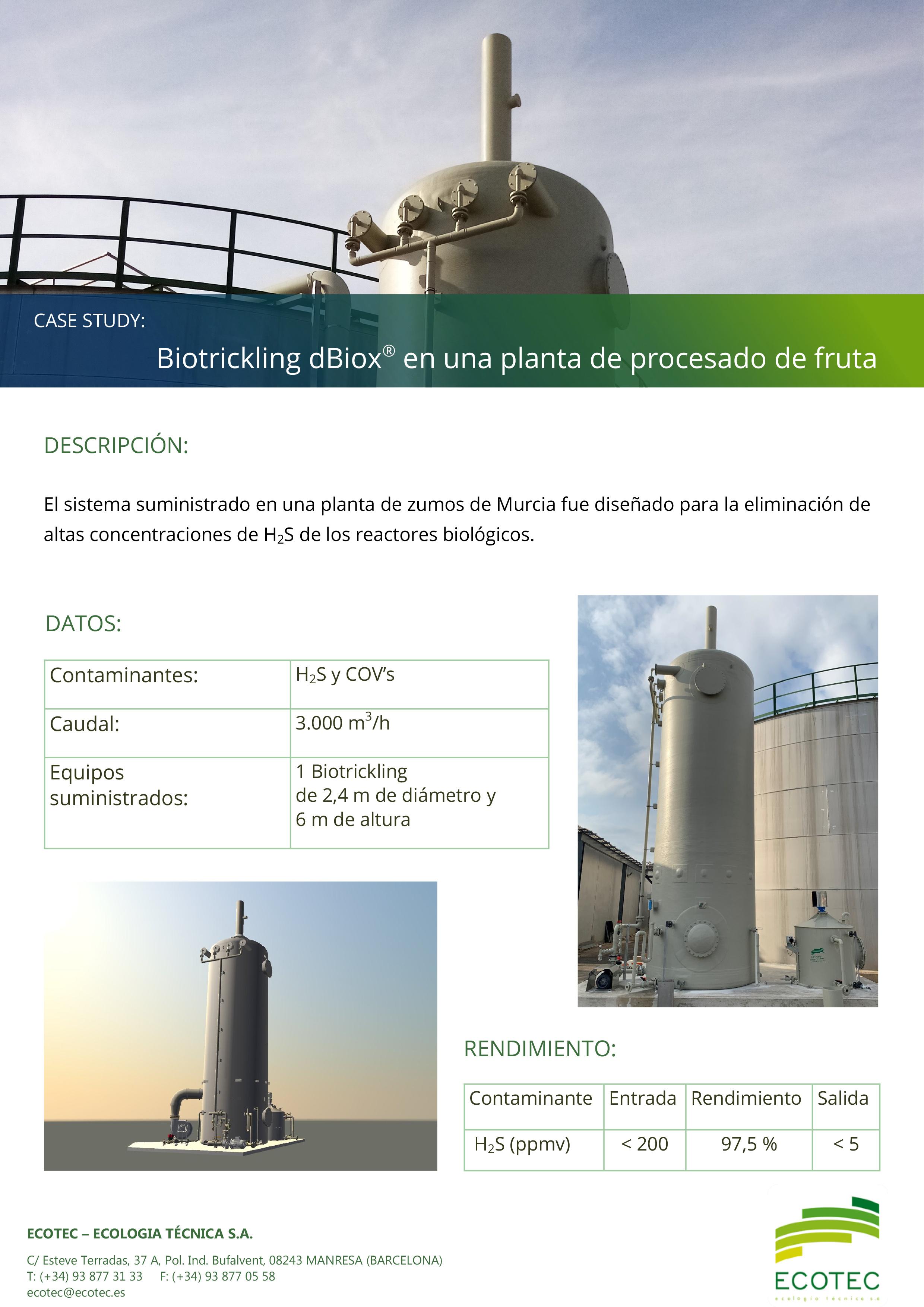Biotrickling dBiox procesado fruta Murcia