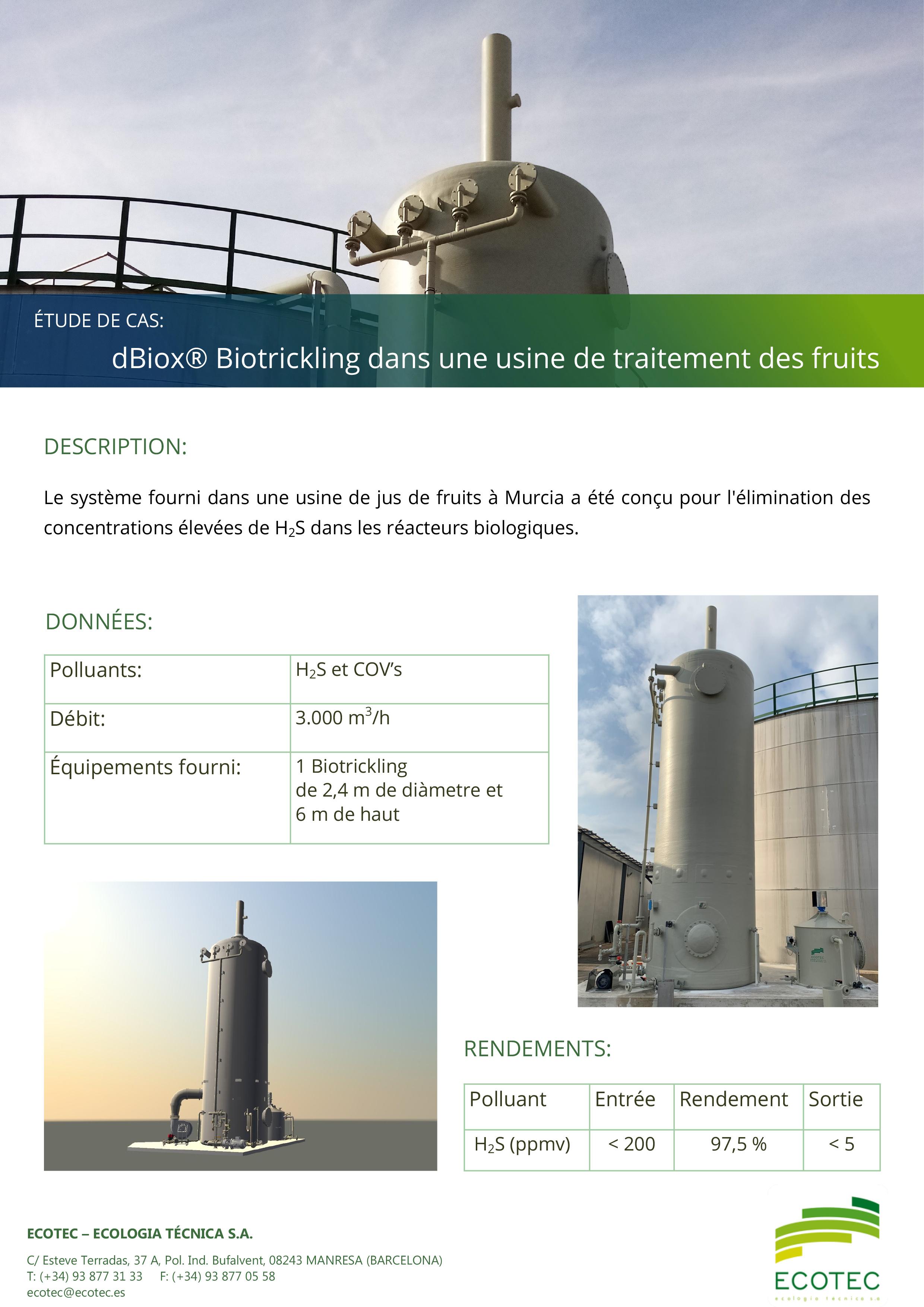 Biotrickling dBiox traitement fruits Murcia